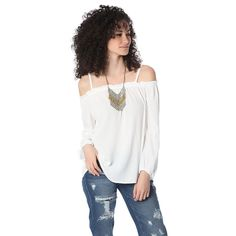 White off shoulder top with long sleeves – Fashion Gal Freedom