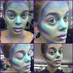 Mermaid siren aquatic make up. Fish or lizard makeup, Perth makeup artist. Fishnet scales, teal, turquoise, sea foam blue and lilac purples.