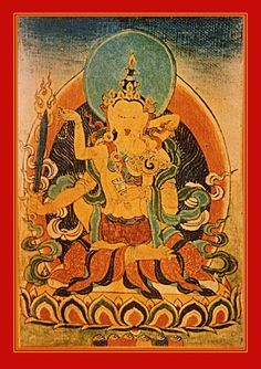 Akashagarbha and Mala; in the south, olfactory consciousness embracing fragrance. 'Nucleus of Space' has mastered the perfect ability to purify transgressions. He holds a sword, indicating the flow of emotions has been cut off. Garland Girl holds a string of jewels, representing the inseparability of skilful actions and clear discernment.