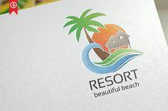 Resort / Beach - Logo Template  @creativework247 Logo Inspiration, Beach Logo, Power Logo, Resort Logo, Waves Logo, Creative Lettering, Freelance Graphic Design, Creative Sketches, Pencil Illustration