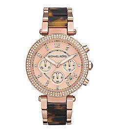 Michael Kors Parker Rose Gold and Tortoise Chronograph Watch #Dillards