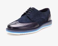 Blue Suede Spectator Lace-Up Derby Shoe,Lambskin Suede Lining.Your Casual Shoe Dress never looked and feel so good.