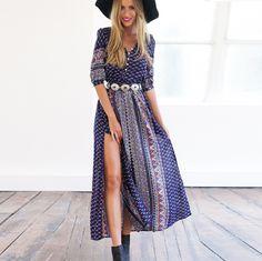 Print Half Sleeves V-neck Maxi Dress