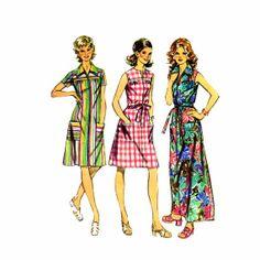 1970s Smock Dress Simplicity 5028 Vintage Sewing Pattern