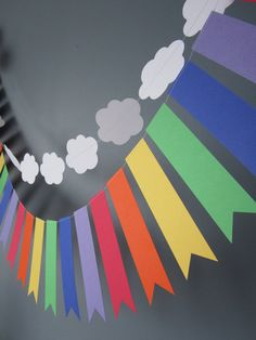 Clouds and Rainbows banner Rainbow Party Rainbow by FleurandStitch (again for the idea) patricks day party rainbow Items similar to Clouds and Rainbows banner, Rainbow Party, Rainbow bunting, Rainbow paper garland on Etsy Rainbow Party Decorations, Rainbow Parties, Rainbow Birthday Party, Rainbow Theme, Rainbow Bunting, Rainbow Paper, Diy Birthday, Halloween Decorations, Fiesta Little Pony