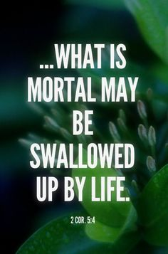 2 Cor. 5:4 ...What is mortal may be swallowed up by life. #Bible #Scripture verse, Recovery Version, quoted at www.agodman.com