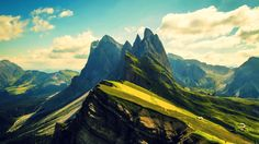 General 1600x900 clouds trees nature hills landscapes mountains Dolomites, Italy