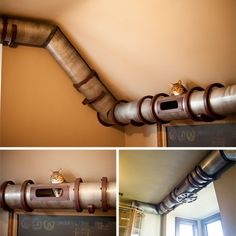 A couple of 'mad scientists' built a custom steampunk workroom complete with a transit tube for the kitties:) Love this industrial look. #cats #CatClimbs #CatTunnel #catify