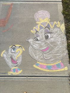 Mrs. Potts and Chip #beautyandthebeast #sidewalkchalkart #mrspottsandchip