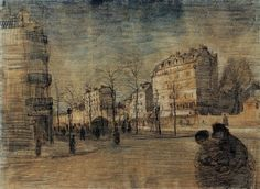 Boulevard de Clichy, The - Vincent van Gogh . Created in Paris in February - March, Located at Van Gogh Museum Vincent Van Gogh, Van Gogh Drawings, Van Gogh Paintings, Van Gogh Arte, Art Van, Dutch Painters, Dutch Artists, Les Oeuvres, Ancient Art