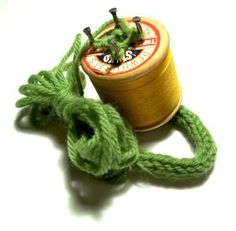 Spool knitting- didn't take much to keep us occupied. Who didn't have a wooden spool, 4 sm. nails, some yarn & a crochet hook around the house? I still have my spool after all this time : ) 1970s Childhood, Childhood Toys, Childhood Memories, Spool Knitting, Knitting Ideas, I Cord, Thread Spools, Great Memories, Old Toys
