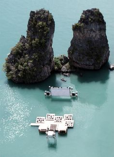 Creative movie theater designed by German architect Ole Scheeren floats in the middle of beautiful lagoon near Koh Yao Noi island in Thailand.