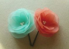 Hey, I found this really awesome Etsy listing at https://www.etsy.com/listing/181585134/2-mint-coral-hair-clips-coral-mint-hair