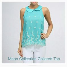 """Moon Collection """"Drifting Flower"""" Collared Top. Intricate embroidery on a beautiful 100% poly  collared top. Fun details of back buttoning. Upscale Boutique item quality! See pic 3 for true color. Moon Collection Tops Tank Tops"""