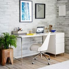 Love the mix of gray and wood with the white desk...might make me love my desk again.