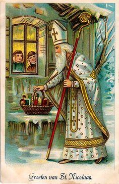 Vintage Sinterklaas Wenskaart. Met..... Groeten van St. Nicolaas ;-D
