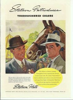 Stetson Hat Thoroughbr (1938) a pale panama style right and homburg like style left.