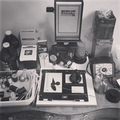 We dug out my old very vintage darkroom equipment from the cobwebbed corners of the Old Homestead so that my retired Hubs can further his renewed old hobby. Oh the nostalgia we unpacked. The whole setup was a gift to me from my Aunt Lynda who had her own darkroom in the 60s and 70s. I haven't used this equipment in 20 years since I was then in college and used a large up-to-date lab that didn't have a toilet next to the wash basin. #filmphotography #filmisnotdead #vintagedarkroom by…