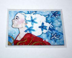 Snowflake Fairy Magnet - Fantasy Art Magnet - Refrigerator Magnet - Snow Princess