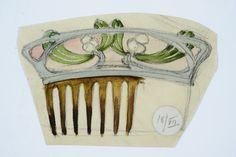 Sketch of hair-comb in bone with plique-a-jour enamel decorations with mistletoe motif. ca 1910 Jugendstil Design, Art Nouveau Jewelry, Hair Ornaments, Mistletoe, Vintage Hairstyles, Designs To Draw, Vintage Christmas, Enamel, Jewelry Making