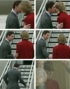 1981-03-29 Diana and Charles say goodbye at London Heathrow as Charles leaves on a 5-Week tour of Australia and New Zealand