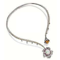 OPAL, DIAMOND AND PINK SAPPHIRE NECKLACE