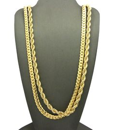 "NEW 6mm/30"" ROPE CHAIN & 6mm/30 MIAMI CUBAN CHAIN / NECKLACE CHAIN SET"