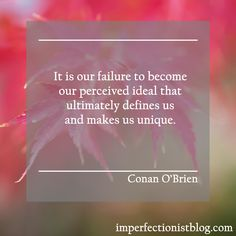 """""""It is our failure to become our perceived ideal that ultimately defines us and makes us unique."""" -Conan O'Brien  http://imperfectionistblog.com"""