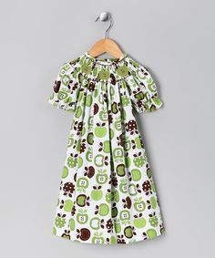 Take a look at this Lime & Brown Apple Bishop Dress - Toddler & Girls by Vive la Fete on #zulily today!