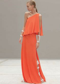 Alexis Cori One Shoulder Maxi Dress in Orange - Alexis - $825.00 - Swank Atlanta