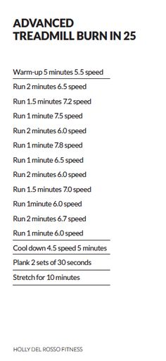 My ADVANCED Treadmill run in 25 minutes. Get your free copy of my latest Ebook, DEFINE at HollyDelRosso.com!