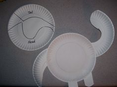 Brachiosaurus made from a paper plate created by Making Learning Fun.