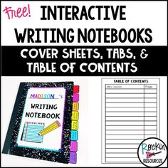 Writing-Essays printables Kindergarten, 1st, 2nd, 3rd, 4th, 5th, 6th, 7th, 8th, Cover pages, tabs, and table of contents for writing notebooks:These are now included in the interactive writing notebook bundles! STEP-BY-STEP WRITING PROGRAMS that motivate students AND boost test scores!