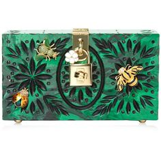 Dolce & Gabbana Embellished plexiglass clutch (€2.510) ❤ liked on Polyvore featuring bags, handbags, clutches, studded handbags, box clutch, dolce gabbana purses, green purse and crystal handbag