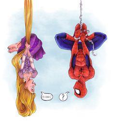 Rapunzel Spiderman - disney, marvel comics, tangled, princess, funny love my taned and SPIDERMAN Disney Fan Art, Disney Pixar, Disney E Dreamworks, Disney Marvel, Disney Style, Disney Movies, Walt Disney, Humanized Disney, Disney Ships