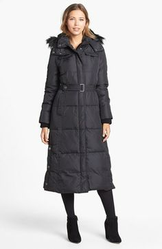 JADA | CHARCOAL LONG DOWN COAT WITH FUR HOOD FOR WOMEN | MACKAGE ...