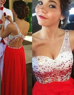One Shoulder Beading Real Made Prom Dresses,Long Evening Dresses,Sexy prom dress ,Glamorous dress