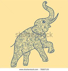 Abstract blue elephant - stock vector