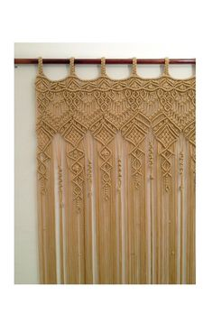 Large Macrame Curtain made with polypropylene cord. Would work wonderfully as doorway curtain, as wedding backdrop, window curtain. Looking for something else: check this out: Macrame Wall Hanging Diy, Macrame Curtain, Macrame Art, Macrame Projects, Macrame Knots, Macrame Jewelry, Doorway Curtain, Curtains, Curtain Panels