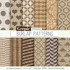 "Burlap digital paper: ""BURLAP PATTERNS"" brown / neutral / earth tones canvas textures with hearts, polkadots, stripes and more on linen #patterns #scrapbooking"