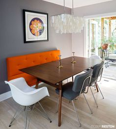 Dining Room With Custom Orange Banquette, Two Gray Case Study Chairs, Two  Eames Armchairs. Small DiningWest Elm ...