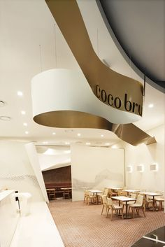 Coco bruni by Studio Vase, Busan, Korea Cafe Interior, Luxury Interior, Interior Design, Modern Restaurant Design, Home Office Accessories, Futuristic Interior, Workplace Design, Signage Design, Hotel Lobby