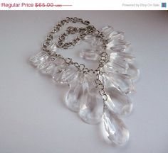 Lucite Faceted Bib Necklace  RJG Signed for by thejewelseeker, $52.00
