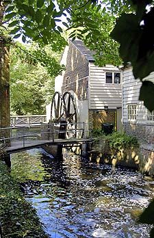 The water turbine mill at Morden Hall Park in South London. The estate was originally owned to Westminster Abbey and the Hall dates back to the 1770s and covers 50 acres of parkland.