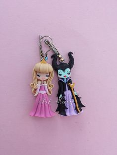 maleficent earrings and aurora in fimo polymer clay by Artmary2