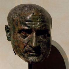 Head of Roman Emperor Trebonianus Gallus 251 - 253 AD Roman bronze