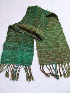 Hand woven wrap shawl winter shawl green by HandweavingbyMima