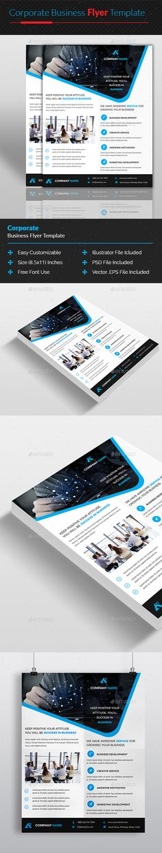 Corporate Business Flyer Design Template - Corporate Flyers Design Template PSD, AI Illustrator, Vector EPS. Download here: https://graphicriver.net/item/corporate-business-flyer-template/19350228?ref=yinkira