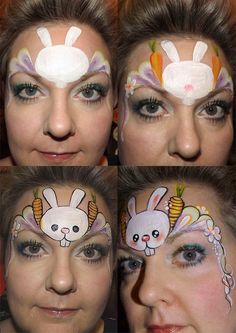 Debz Faces - Easter bunny face painting design tutorial