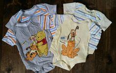 Disney onesies. 4-pc lot. Size 0-3 months. $4. Disney Onesies, 3 Months, Garage, Kids, Baby, Clothes, Fashion, Carport Garage, Young Children